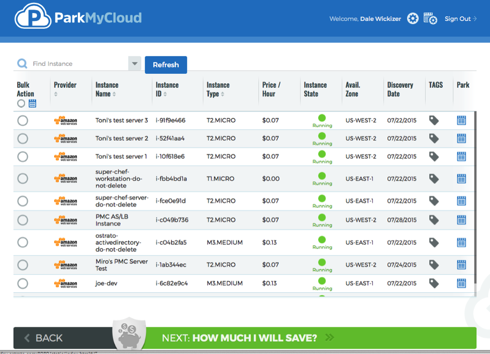 The ParkMyCloud dashboard shows AWS EC2 instances from all regions in one view.